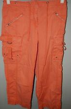 J. Crew Womens Crop Cargo Capri Pants - Orange 100% Cotton Size 6 - Favorite Fit