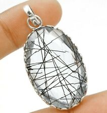 46CT Black Rutilated Quartz 925 Sterling Silver Pendant Jewelry, EA23-1
