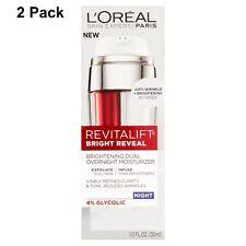 2 Pack L'Oréal Paris Revitalift Bright Reveal Dual Overnight Moisturizer 1.0 oz