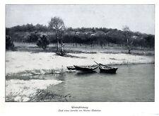 Wartan Mahokian Winterstimmung Boote Landschafts- Motiv Histor. Kunstdruck 1913