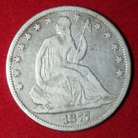 Available is an 1877 Silver Seated Lady Liberty Half Dollar
