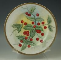ANTIQUE PORCELAIN HOLLYBERRY PLATE, SIGNED BY ARTIST, GERMAN BLANK