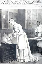 Mrs. Garfield 1881 PREPARING DINNER for PRESIDENT Chef Cook Matted Antique Print