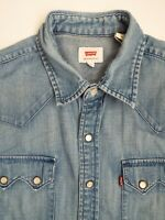 LEVI'S DENIM SHIRT MEN'S REGULAR FIT POPPERS SMALL MID BLUE LSHT664