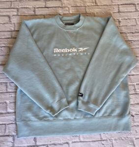 Reebok Vintage 1990's Sweatshirt SPELL OUT Pale Blue Size 14