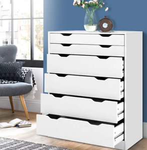 Artiss 6 Chest of Drawers Tallboy Dresser Table Storage Cabinet White Bedroom