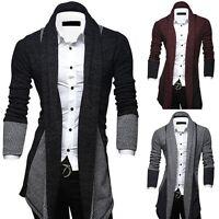 New Men's Casual Stylish Slim Fit Knit V-Neck Cardigan Long Sweater Coat Jacket