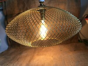 Pendant Light Lampshade Brass Coloured Wire Mesh UFO shaped Flattened Dome Shade
