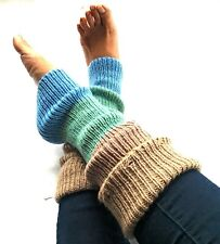 Leg Warmers Boot Toppers Sweater Knitted Tall Colorblock Blue Brown