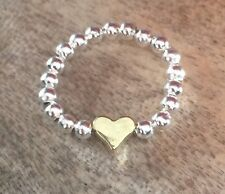 Silver & Gold Ball Beaded Heart Stretch Ring  ~ FREE P&P