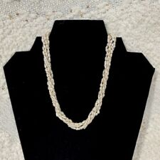Fresh water rice pearls 5 strand necklace with sterling silver flower box clasp