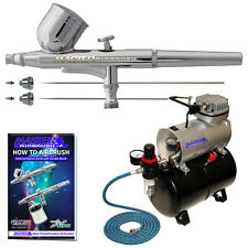 .2 .3 .5 Gravity Dual-Action AIRBRUSH KIT Tank Air Compressor Hobby Cake Tattoo