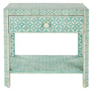 MADE TO ORDER Bone Inlay Indian Handicraft Rectangular Side Table Blue Geometric