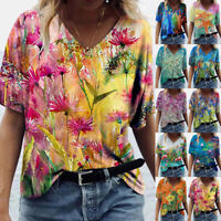 Women Casual Loose Blouse V Neck Short Sleeve T Shirt Floral Print Comfy Top Tee