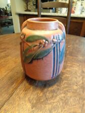 "VINTAGE 30S ROSEVILLE POTTERY LAUREL-RED 672 VASE 8 1/2"" TERRA COTTA EXC SHAPE"