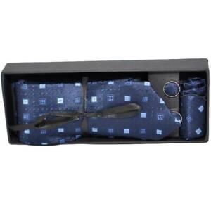 Set cravatta pochette e gemelli in raso blu con dettagli confezione regalo per p