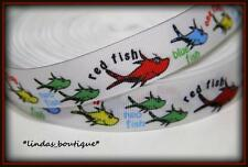 "1Y 7/8"" DR. SEUSS 1 2 FISH RED BLUE FISH CRAFTS HAIRBOW PRINTED GROSGRAIN RIBBON"