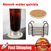 6 Pcs/Set Round Drink Coasters with Holder Base for Home Kitchen Bar Decoration