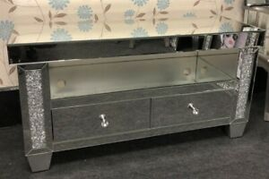Beautiful Large Crushed Crystal Mirrored Glass 2 Drawer TV Cabinet Unit Stand
