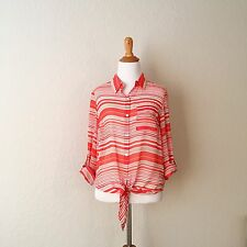 Forever 21 Top Striped Button Down Shirt Size M Preowned Used Career Work Casual