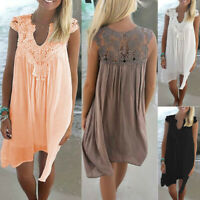 Fashion Women Summer Lace Hollow Chiffon Mini Dress Beach Party Loose Sundress