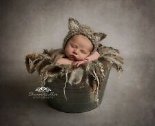 Oatmeal Kitten Fluffy Bonnet hat. Photography prop. Newborn. Baby shower
