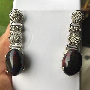 New Huge 27 Ct Ethiopian Black welo Opal & diamond 18k Gold & SS dangle earrings
