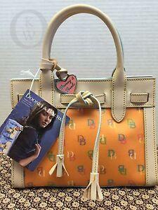 NWT~Dooney & Bourke*Tangerine*DB Italia*Handbag*IT*Mini Tassel Tote #16062F