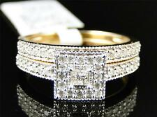Ladies Yellow Gold Princess Solitaire Diamond Engagement Wedding Bridal Ring Set