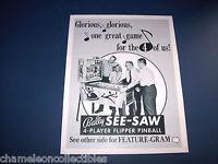 SEE SAW By BALLY 1970 ORIGINAL NOS PINBALL MACHINE SALES FLYER BROCHURE