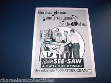 SEE SAW By BALLY 1970 ORIGINAL NOS PINBALL MACHINE SALES FLYER BROCHURE