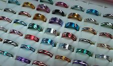 JOB LOT 50 Mixed Patterned ALUMINIUM Rings Narrow Chunky PARTY BAG GIFT