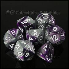 NEW 7pc Set Purple Steel Gray Gemini Dice in Box RPG Game D&D