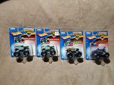 Hot Wheels Monster Jam Lot 2 Metallic Grave Digger & 4 Other Trucks