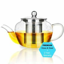 Teapot Kettle Tea Glass Warmer with Heat Resistant Stainless Steel Infuser 600ml