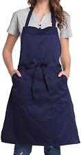 Bighas Adjustable Bib Apron with Pocket Extra Long Ties for Women Men, 18 Chef,