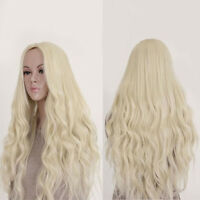 Women Full Wig Light Blond Long Curly Wavy Synthetic Cosplay Hair for Party 65cm