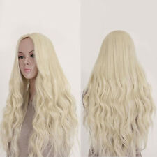 Women Full Wig Light Blond Long Curly Wavy Synthetic Cosplay Hair for Party Prof
