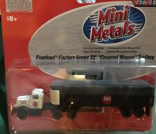 "Mini Metals Ho 31132 Fruehauf Factory Green 32' ""covered Wagon"" Trailers"