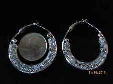 MONICA FRIEND DESIGNS (Tm) BINCHE LACE (Tm) ~ LARGE SILVER TONE EARRINGS
