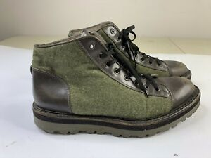 YVES SAINT LAURENT YSL Boots Green Wool Tweed Brown Leather Size 9 US 43 EU