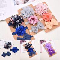 3Pcs Newborn Girl Baby Headbands Ribbon Elastic Headdress Kids Hair Band Bow ❤