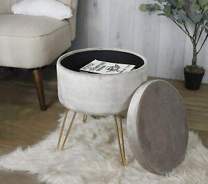 Velvet Storage Stool Luxury Mink Round Ottoman With Lid Bedroom Storage Seat
