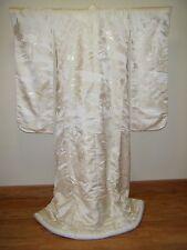 Dazzling White Japanese Uchikake Wedding Kimono with Cranes & Treasure Carts