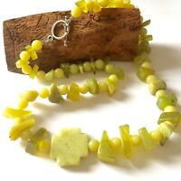 Cross Necklace Carved Lime Green Serpentine Stone Bead Sterling Pendant 21.75 in