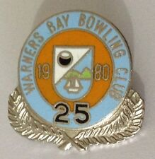 Warners Bay Bowling Club 25th Anniversary Badge Pin Vintage Lawn Bowls (L33)