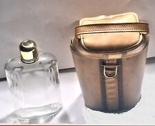 glass Whiskey  Flask with brown Case