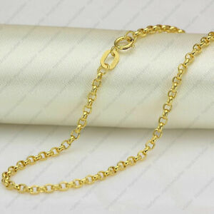FINE 20 INCH Solid 18K Yellow Gold Necklace 2mm Rolo Link Chain Necklace BIS 750