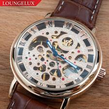 NEW Mens Flywheel Luxury Skeleton Manual Mechanical Leather Strap Bling Watch