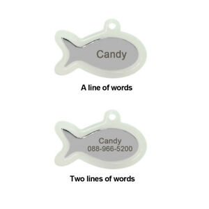 Dog ID Tags Personalized Engraved Pet Cat Name Collar Tag Fluorescent Bone/Fish